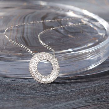 1.00 ct. t.w. Diamond Open Eternity Circle Pendant Necklace in 14kt White Gold. 16""