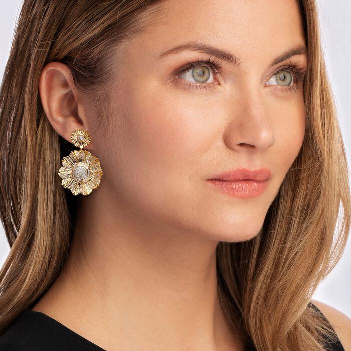 3.00 ct. t.w. Diamond Flower Drop Earrings in 18kt Gold Over Sterling