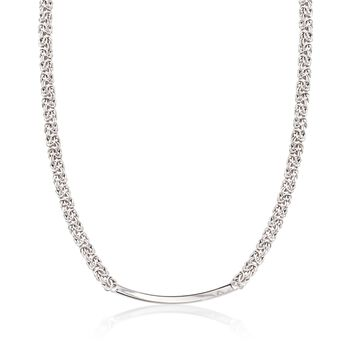 Italian Sterling Silver Byzantine Curved Bar Necklace