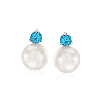 11-11.5mm Cultured Pearl and 1.20 ct. t.w. Blue Topaz Earrings in Sterling Silver, , default