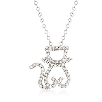 """.25 ct. t.w. Diamond Cat Necklace in Sterling Silver. 18.25"""", , default"""