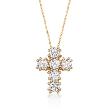 1.50 ct. t.w. CZ Cross Pendant Necklace in 14kt Yellow Gold, , default
