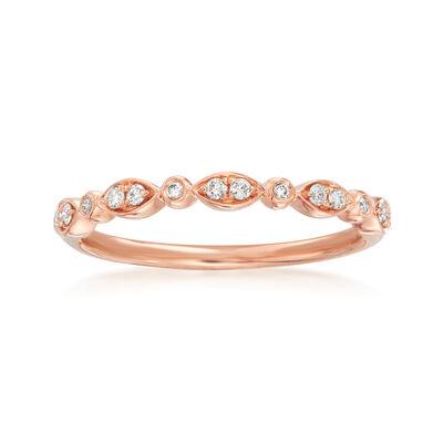 Henri Daussi .11 ct. t.w. Diamond Wedding Ring in 18kt Rose Gold, , default
