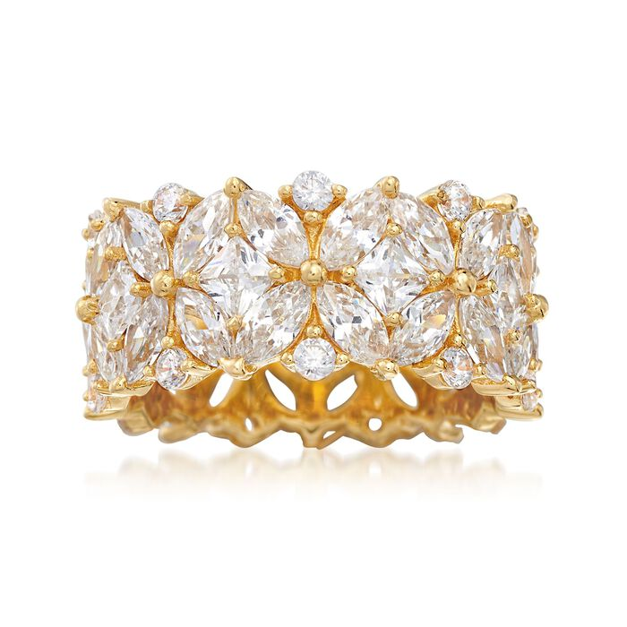 7.30 ct. t.w. Multi-Cut CZ Floral Eternity Band in 18kt Gold Over Sterling
