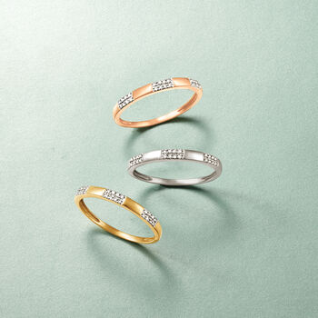 14kt Yellow Gold Stacking Ring with Diamond Accents, , default