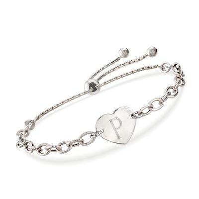 Italian Sterling Silver Engravable Heart Bolo Bracelet