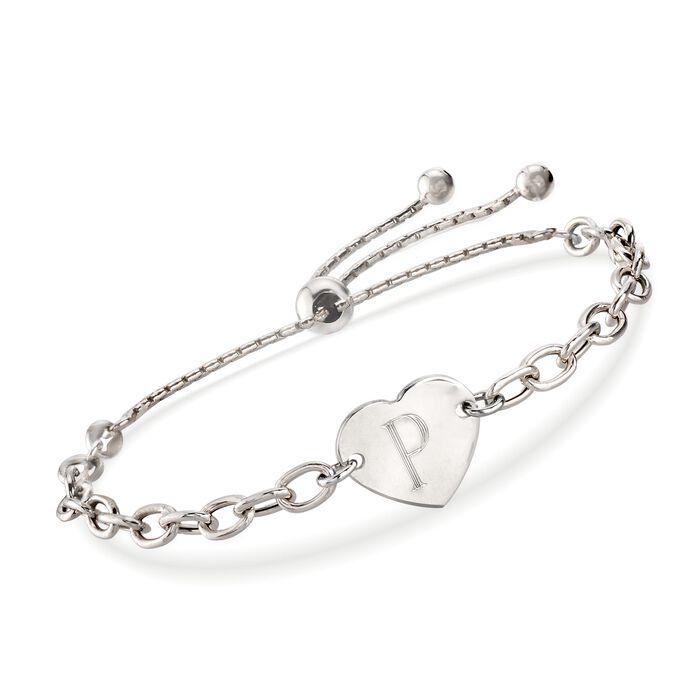 Italian Sterling Silver Engravable Heart Bolo Bracelet, , default