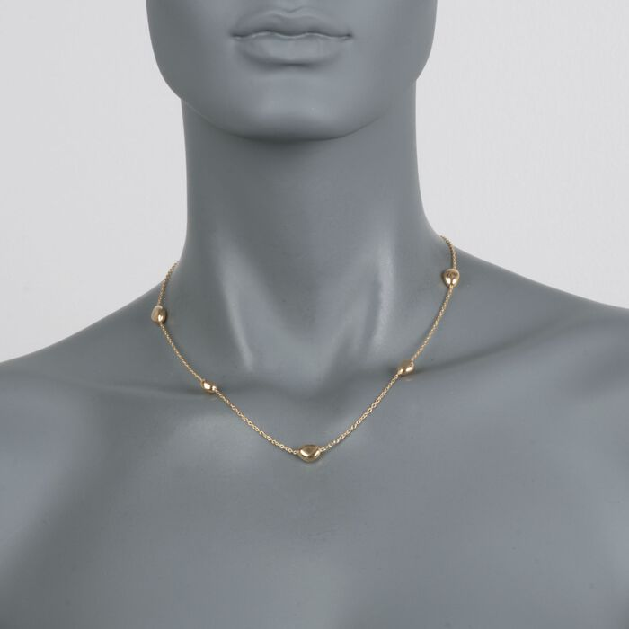 """Italian 18kt Yellow Gold Pebble Station Necklace. 18"""", , default"""