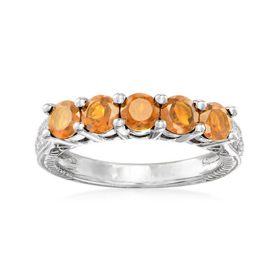 1.20 ct. t.w. Orange Citrine Five-Stone Ring in Sterling Silver