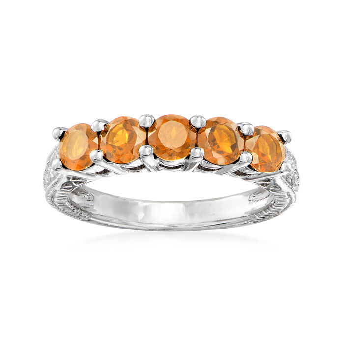 1.20 ct. t.w. Orange Citrine Five-Stone Ring in Sterling Silver