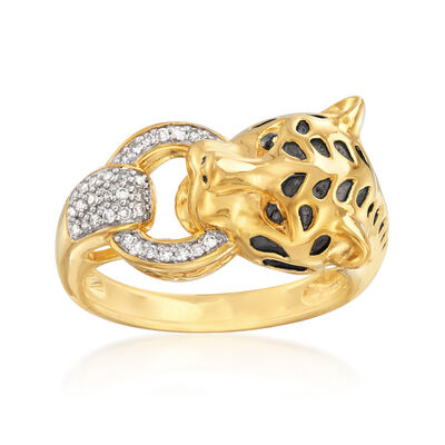.10 ct. t.w. Diamond Cheetah Ring in 18kt Gold Over Sterling, , default
