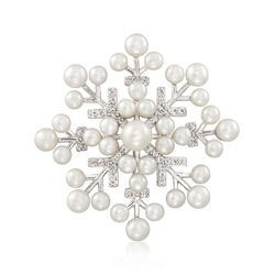 Cultured Pearl and .40 ct. t.w. White Topaz Snowflake Pin in Sterling Silver, , default