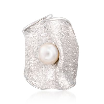 Italian 7.5mm Cultured Pearl Free-Form Ring in Sterling Silver, , default