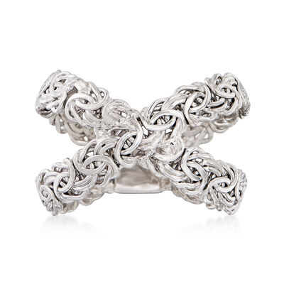 Sterling Silver Byzantine Crisscross Ring, , default