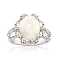 Opal and .21 ct. t.w. Diamond Ring in 14kt White Gold, , default