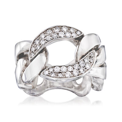 """Roberto Coin """"Oro Classic Diamonds"""" .51 ct. t.w. Diamond Link Ring in 18kt White Gold, , default"""