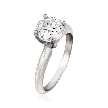 1.70 Carat Certified Diamond Engagement Ring in 14kt White Gold. Size 6