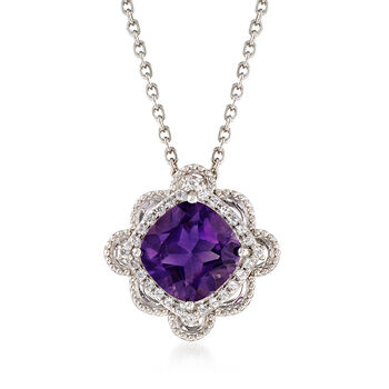 3.60 Carat Amethyst and .50 ct. t.w. White Topaz Frame Pendant Necklace in Sterling Silver, , default