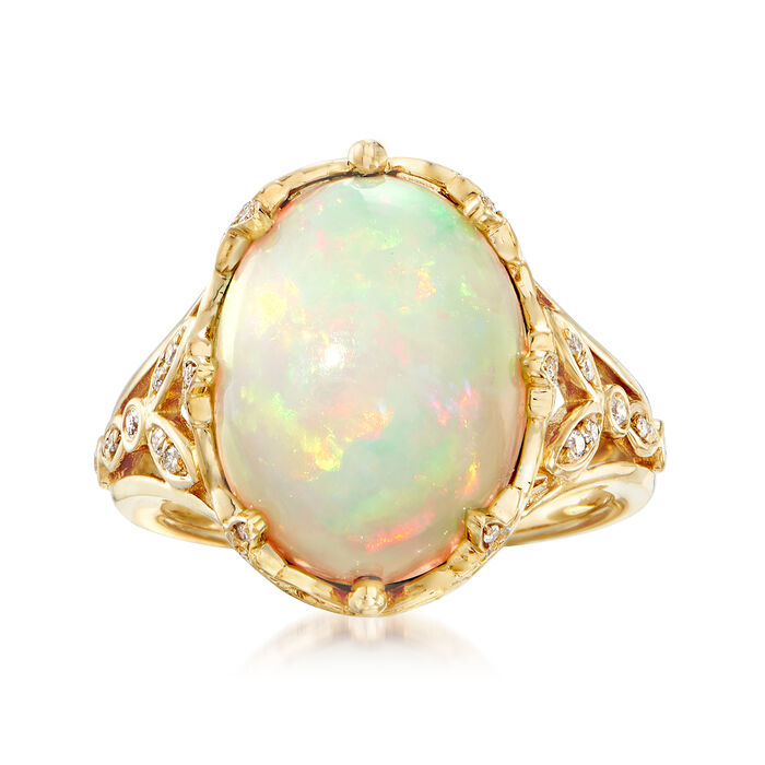 Ethiopian Opal and .28 ct. t.w. Diamond Ring in 14kt Yellow Gold. Size 6