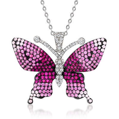 1.10 ct. t.w. Simulated Pink Sapphire and .70 ct. t.w. Simulated Ruby Butterfly Pendant Necklace with .19 ct. t.w. CZs in Sterling Silver
