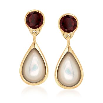 Mother-Of-Pearl and 4.00 ct. t.w. Garnet Drop Earrings in 18kt Yellow Gold Over Sterling Silver, , default