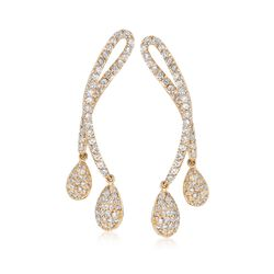 C. 2000 Vintage 4.40 ct. t.w. Diamond Loop Drop Earrings in 14kt Yellow Gold, , default