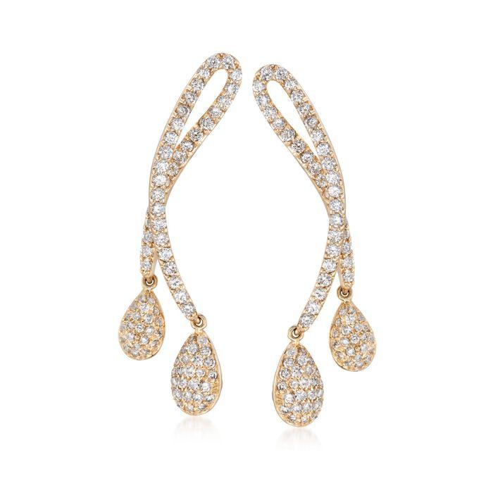 C. 2000 Vintage 4.40 ct. t.w. Diamond Loop Drop Earrings in 14kt Yellow Gold, , default