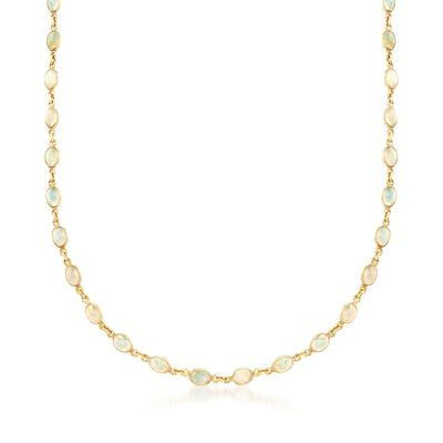 Ethiopian Opal Station Necklace in 14kt Gold Over Sterling, , default