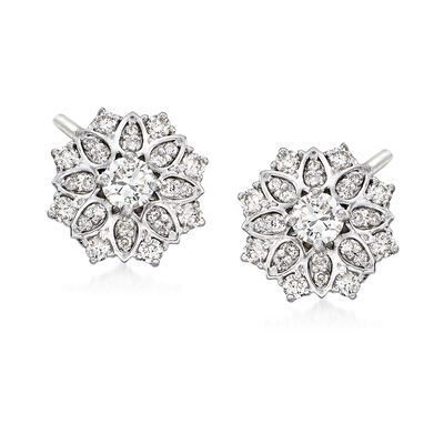 1.00 ct. t.w. Diamond Floral Earrings in Platinum, , default