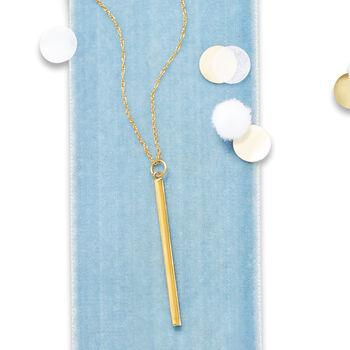 "14kt Yellow Gold Vertical Bar Pendant Necklace. 18"""