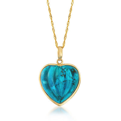 Adjustable 15mm Stabilized Turquoise Heart Pendant Necklace in 14kt Yellow Gold, , default