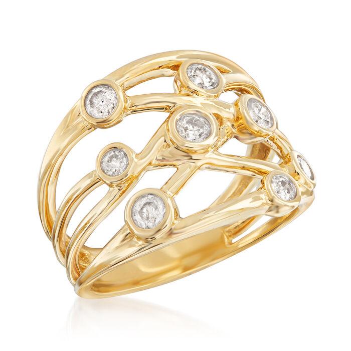 .50 ct. t.w. Diamond Bezel-Set Crisscross Ring in 14kt Yellow Gold
