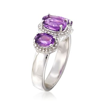 1.80 ct. t.w. Amethyst Three-Stone Ring in Sterling Silver