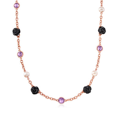 C. 2000 Vintage Mimi Milano 8-8.5mm Cultured Pearl, 6.25 ct. t.w. Amethyst and Black Agate Flower Necklace in 18kt Rose Gold, , default