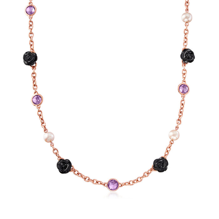 C. 2000 Vintage Mimi Milano 8-8.5mm Cultured Pearl, 6.25 ct. t.w. Amethyst and Black Agate Flower Necklace in 18kt Rose Gold