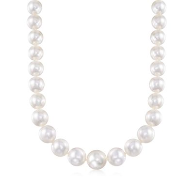 11-14mm Cultured South Sea Pearl Necklace with Diamond Accents and 14kt White Gold, , default