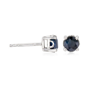 1.10 ct. t.w. Round Sapphire Stud Earrings With Teacup Settings in Sterling Silver, , default