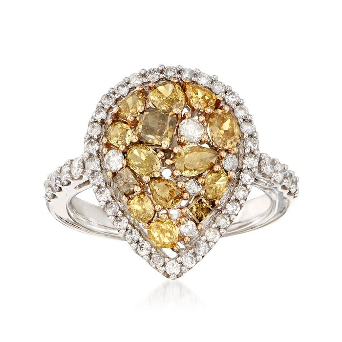 2.00 ct. t.w. Multicolored Diamond Pear-Shaped Ring in 14kt White Gold, , default