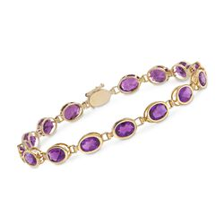 9.75 ct. t.w. Oval Bezel-Set Amethyst Bracelet in 14kt Yellow Gold, , default
