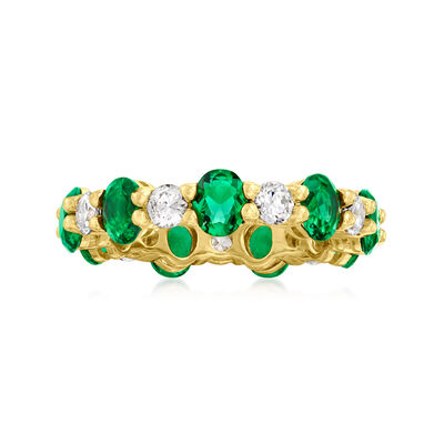 Simulated Emerald and .90 ct. t.w. CZ Eternity Band in 14kt Gold Over Sterling