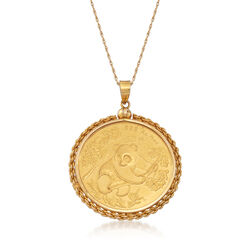 C. 1990 Vintage Genuine 50-Yuan Panda Coin Pendant With 14kt Yellow Gold, , default