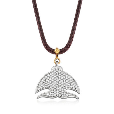"C. 2000 Vintage Pasquale Bruni ""Le Monde"" .70 ct. t.w. Diamond Necklace in 18kt Two-Tone Gold with Leather Cord"