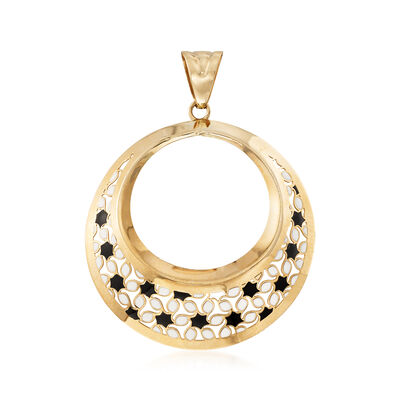 Italian Black and White Enamel Open Circle Pendant in 14kt Yellow Gold, , default