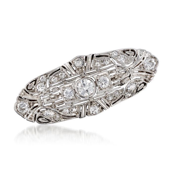 C. 1970 Vintage .90 ct. t.w. Diamond Filigree Pin in Platinum, , default