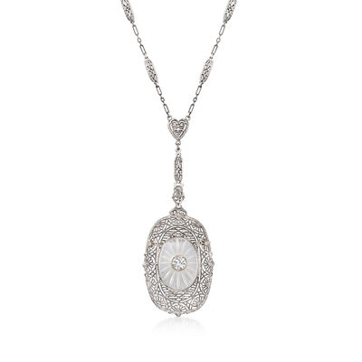 C. 1950 Vintage Carved Crystal and .50 Carat Diamond Pin/Pendant Necklace in Platinum and 14kt White Gold