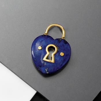 Lapis Heart Lock Pendant in 14kt Yellow Gold