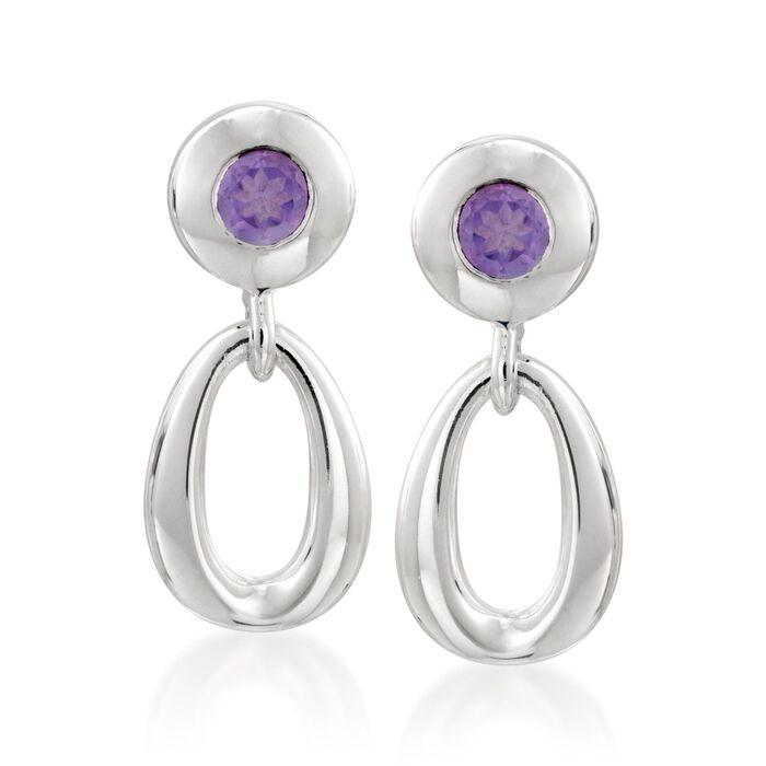 Zina Sterling Silver .40 ct. t.w. Amethyst Oval Link Drop Earrings, , default