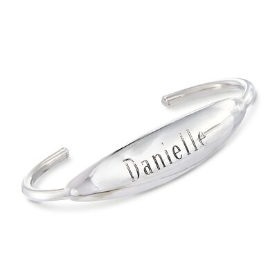 Italian Sterling Silver Personalized Wide Curved Bar Cuff Bracelet, , default