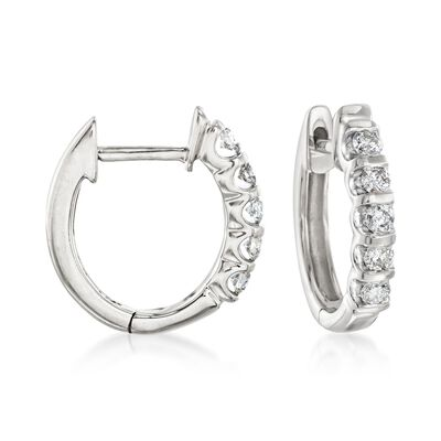 .25 ct. t.w. Diamond Huggie Hoop Earrings in 14kt White Gold
