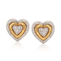 C. 1990 Vintage 1.50 ct. t.w. Diamond Heart Clip-On Earrings in 18kt Yellow Gold, , default